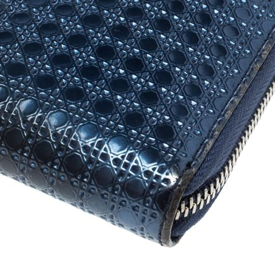 Dior Metallic Blue Cannage Patent Leather Zip Around Wallet