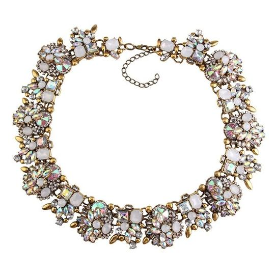 Kerah's Jewels White Glory Resin Crystal Necklace