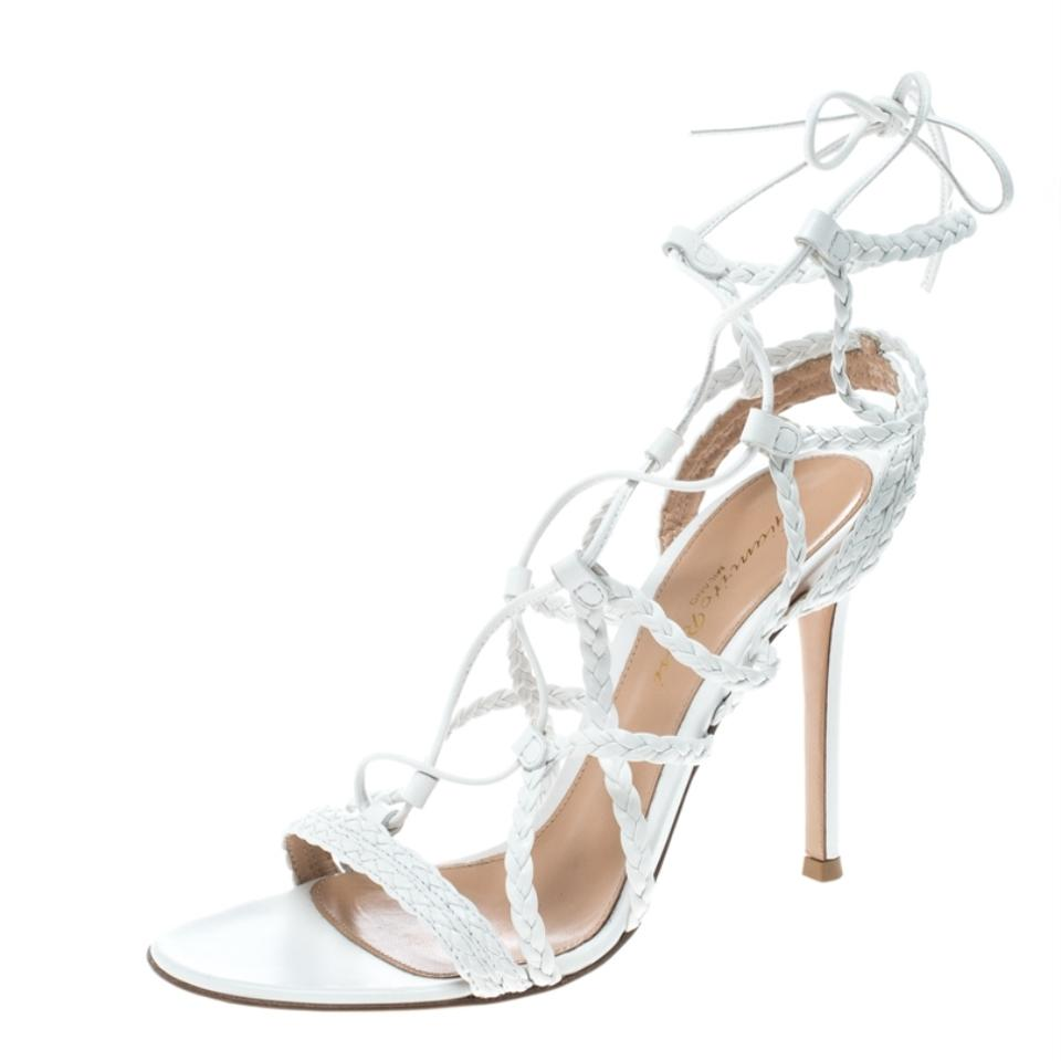 ad12a7de8b58 Gianvito Rossi White Braided Leather Cage Sandals Size EU 37 (Approx ...