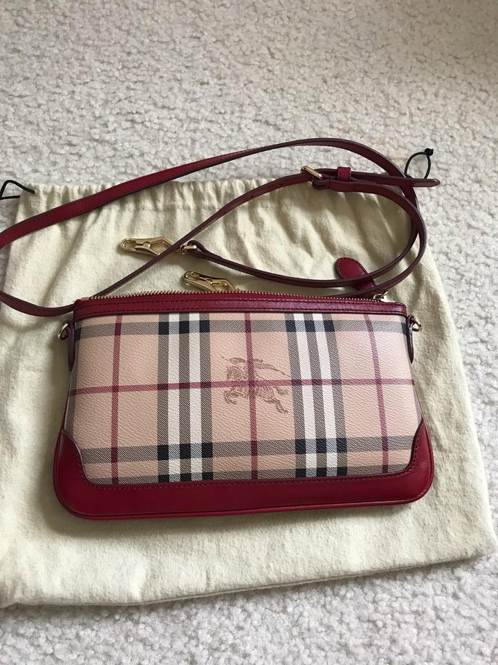 6f9dbee2ad40 Burberry Eux Haymarket Check Peyton Clutch Red   Multiple Leather ...