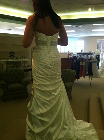 Maggie Sottero Ivory Charmeuse Jsm1307 Adorea Modern Wedding Dress Size 4 (S)
