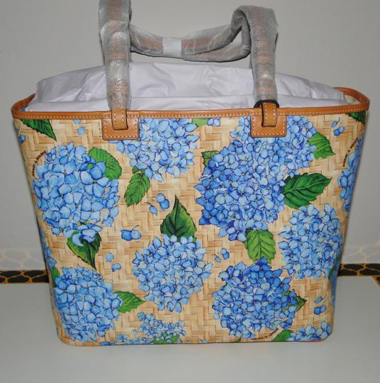 Dooney & Bourke Hydrangea Floral Pvc/Leather Large Tote in Sky Blue