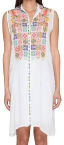 Johnny Was short dress White Intricate Embroidery Optional Slip Sheer + Breezy Sleeveless + Cool Mandarin Collar on Tradesy