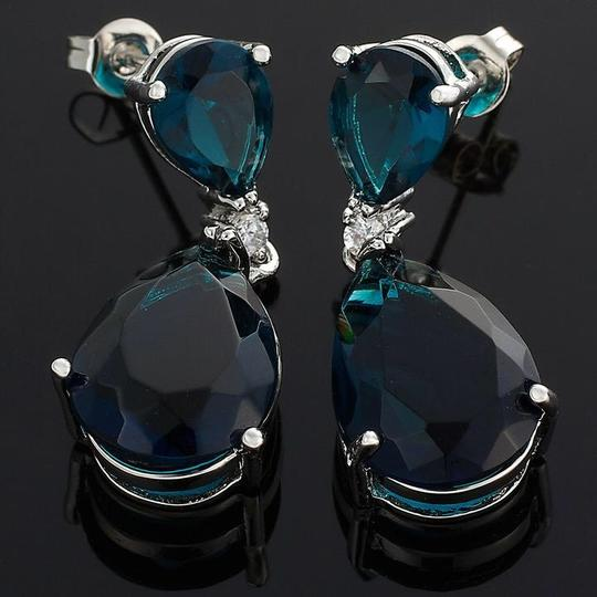 Unknown Celebrity Inspired Simulated Sapphire Earrings