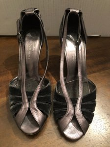 Donald J. Pliner black and silver with velvet Pumps