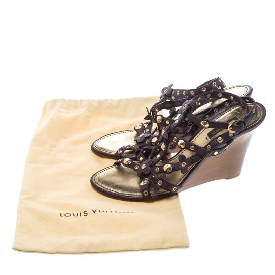Louis Vuitton Leather Studded Purple Wedges