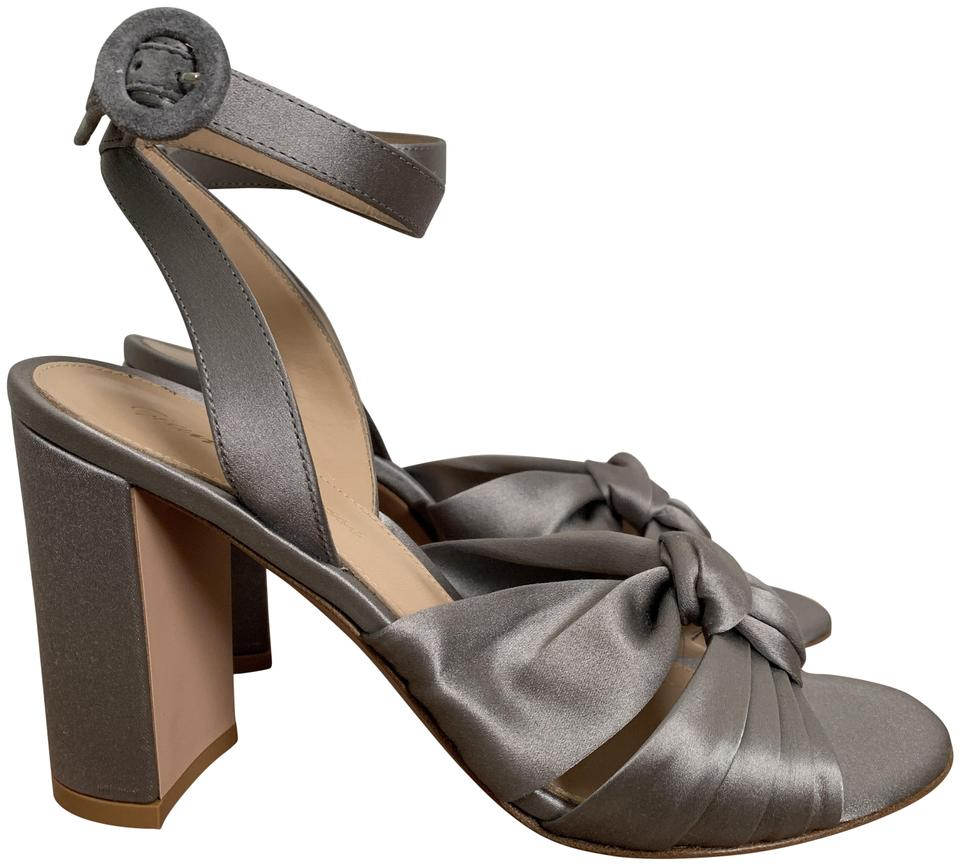 8368bc8d0a60 Gianvito Rossi Open Toe Ankle Strap Satin Chunky Heel Gray Pumps Image 0 ...