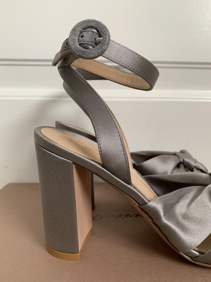 bff4e5a95a91 Gianvito Rossi Gray Loren Knotted Satin Ankle Strap Sandals Heels Pumps  Size EU 37 (Approx. US 7) Regular (M