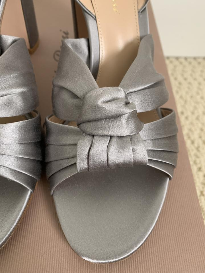 95526ee09424 Gianvito Rossi Open Toe Ankle Strap Satin Chunky Heel Gray Pumps Image 11.  123456789101112