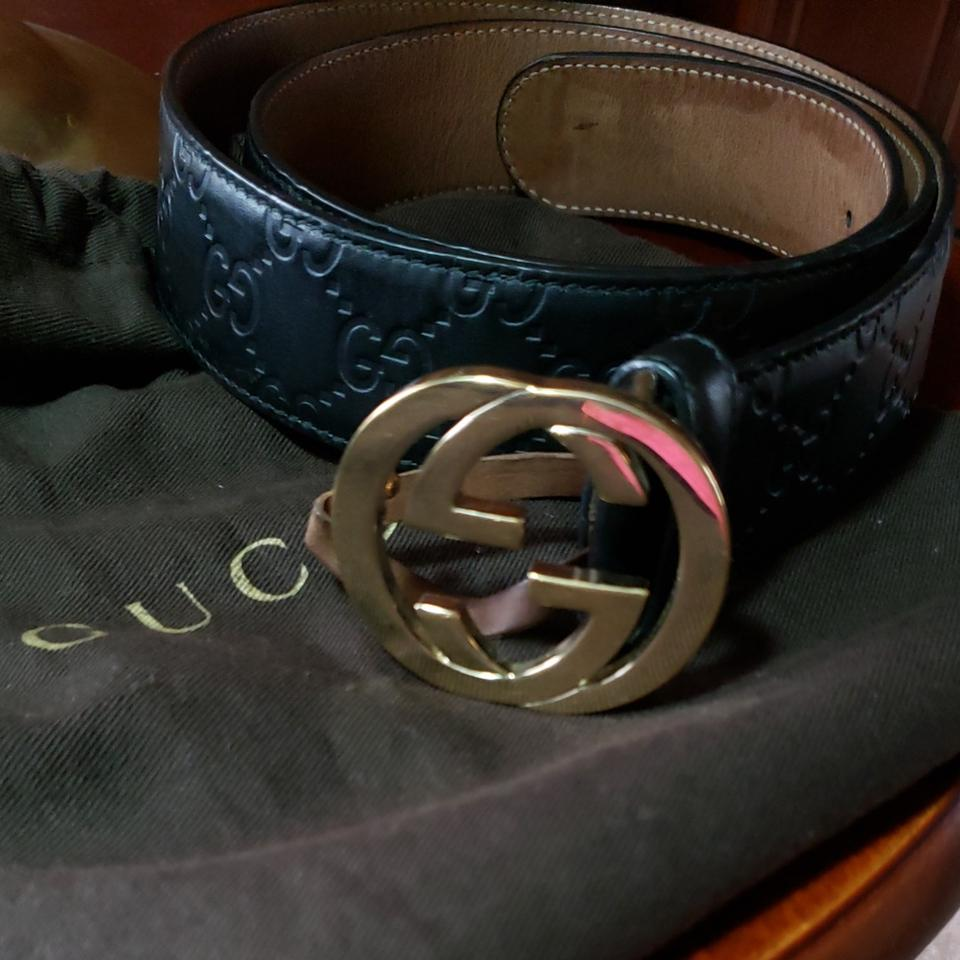 a8fb24265 Gucci Black With Gg Embossed In The Leather and Gold Gg Buckle 2
