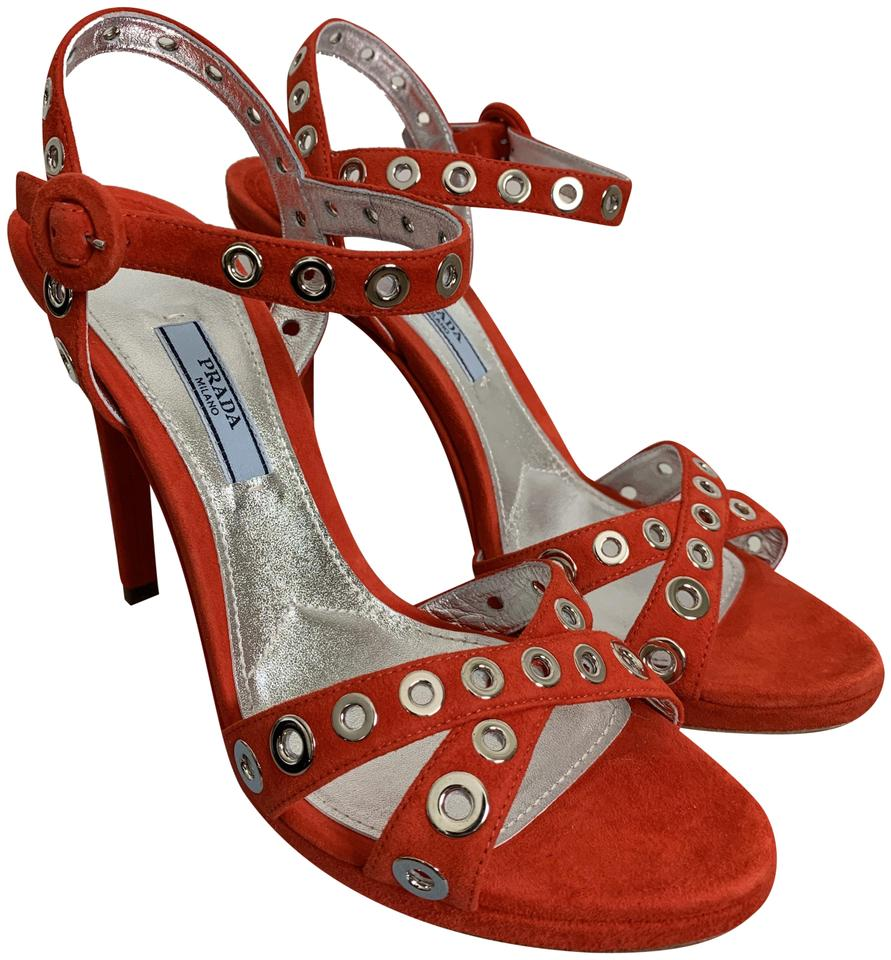 f43c5e46d050 Prada Red Bright Suede Silver Grommet Ankle Strap Heels Sandals Size ...