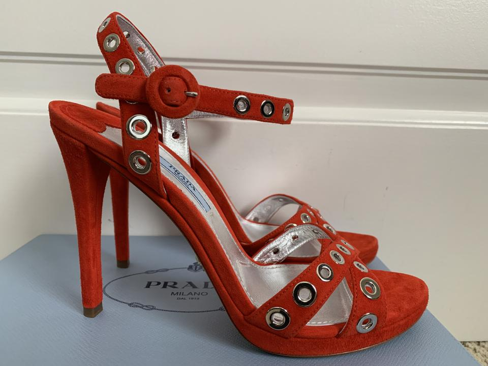 c19a89a2c48f Prada Red Bright Suede Silver Grommet Ankle Strap Heels Sandals Size EU 39  (Approx. US 9) Regular (M
