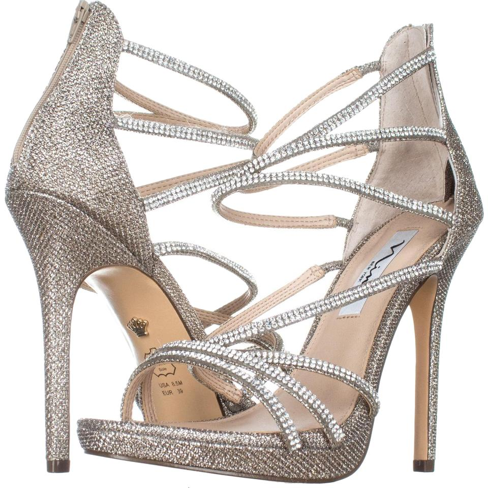 76050a294 Nina Gold Finessa Strappy Evening Sandals 783 Platino Pumps Size US ...