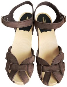 swedish hasbeens Wooden Clog Espadrille Brown Sandals