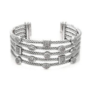David Yurman Confetti Diamond Sterling Silver 5 Row Cable Cuff Bracelet