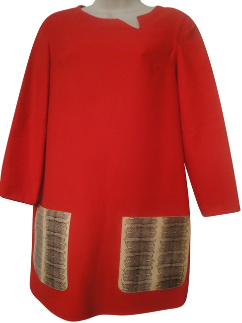 Item - Red Boxy Wool Short Casual Dress Size 4 (S)