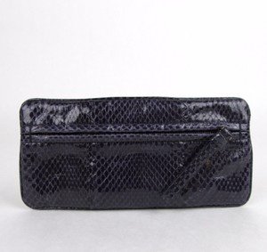 Bottega Veneta Python Evening Dark Blue Clutch