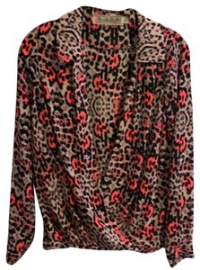 Yoana Baraschi Neon Cowl Neck Collared Hot Pink Top Animal Print