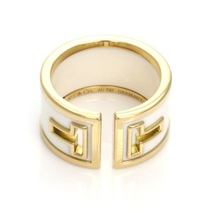 Tiffany & Co. White Ceramic T Cut 18k Yellow Gold Wide Band Ring Germany