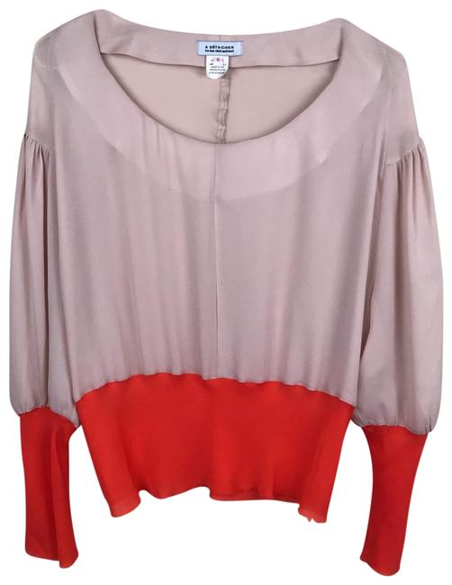 Item - Pinkish/Nude and Orange To Silk Blouse Size 6 (S)