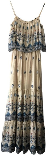 Item - Cream Blue Orange Multi Silk Long Casual Maxi Dress Size 8 (M)