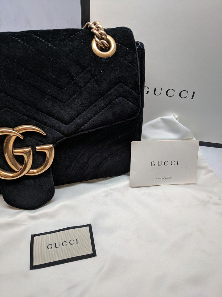 b043ebc9e426 Gucci GG Marmont Medium Black Velvet Shoulder Bag - Tradesy