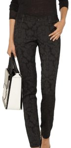 Alice + Olivia Jacquard Textured Classic Straight Pants Black