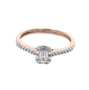 Rose Gold 14k with Emerald Cut Diamond In Center Engage Engagement Ring