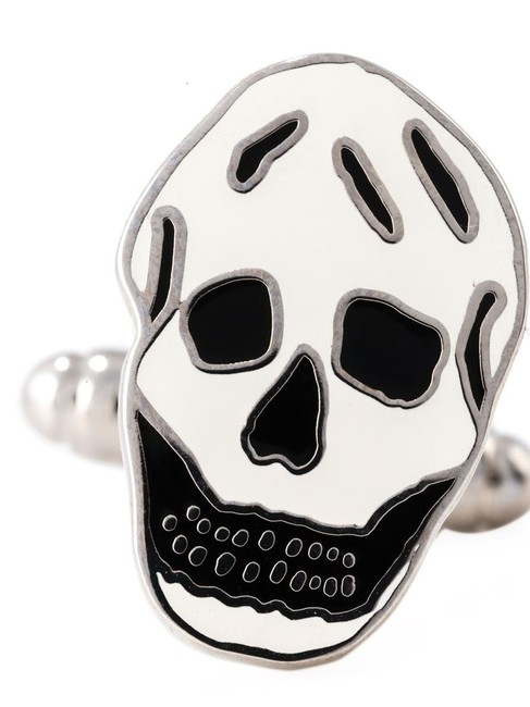 Item - White and Black Enamel Skull Face Cufflinks