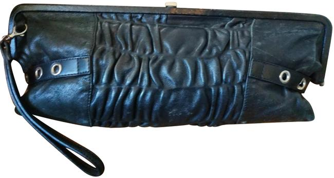 Item - Made In Italy with Grommets and Straps Black Leather Clutch