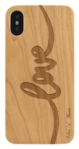 Likes 'n' Wants Love Logo Fashionable Slim Fit Lightweight Wood iPhone Case , Xs Max