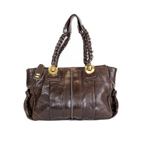 Chloé Leather Gold Hardware Tote in Brown