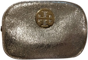 Tory Burch Tory Burch Gold Metallic Crinkle Cosmetic Case