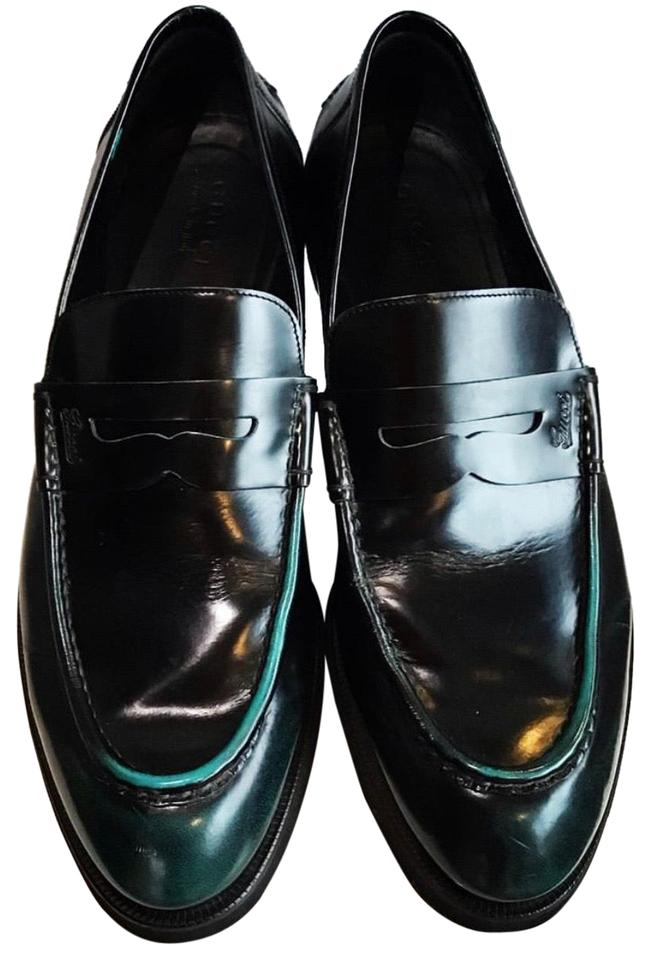 57849f8d4cdae Gucci Black Green Men's Two-tone Penny Loafers Formal Shoes Size US ...