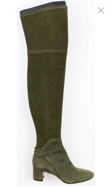 Item - Green Laila 45 Suede Bow Gold Reva Zip Over The Knee Boots/Booties Size US 8.5 Regular (M, B)