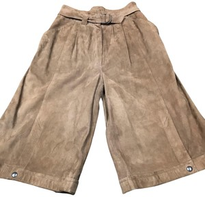 Emme Vintage Leather Gaucho Style Snaps Quality Capri/Cropped Pants tan