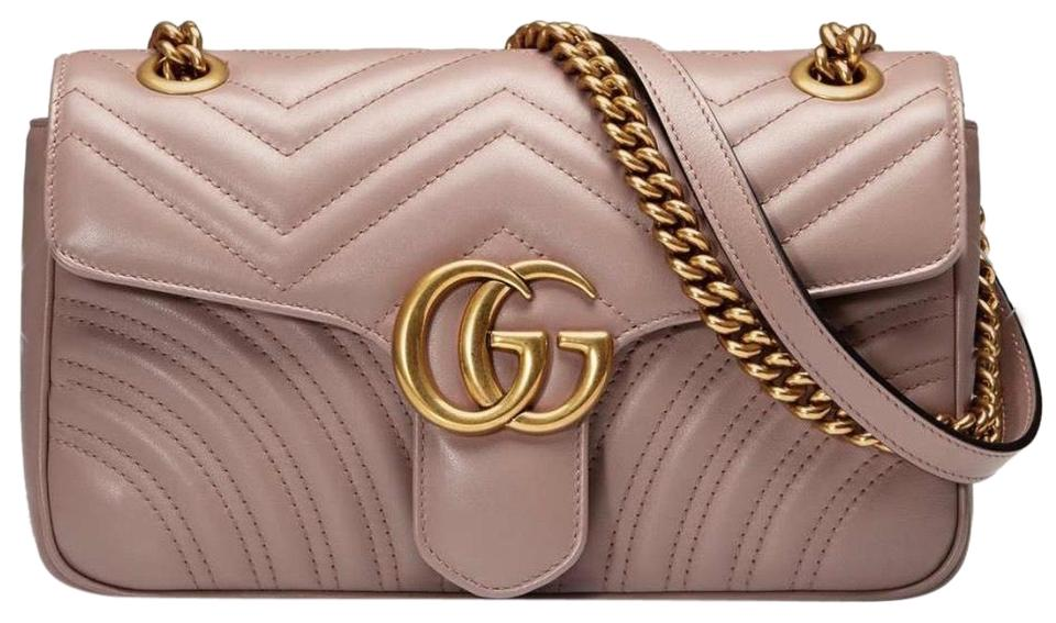 c6f0f0993b4 Gucci Marmont Dusty Pink Lambskin Leather Shoulder Bag - Tradesy