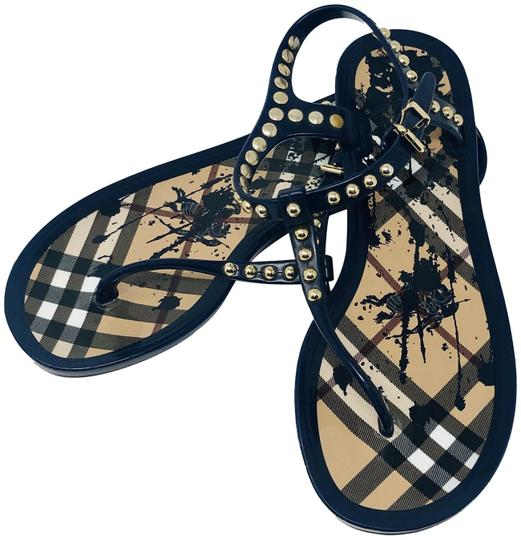 82c7bcd959d Burberry Navy Blue Gold Studded Jelly Sandals Size EU 36 (Approx. US ...
