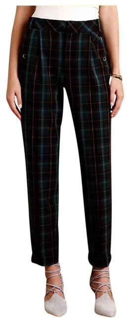 Item - Green Black Gray Brown Cartonnier Kames Plaid Pleated Tapered Ankle Pants Size 2 (XS, 26)