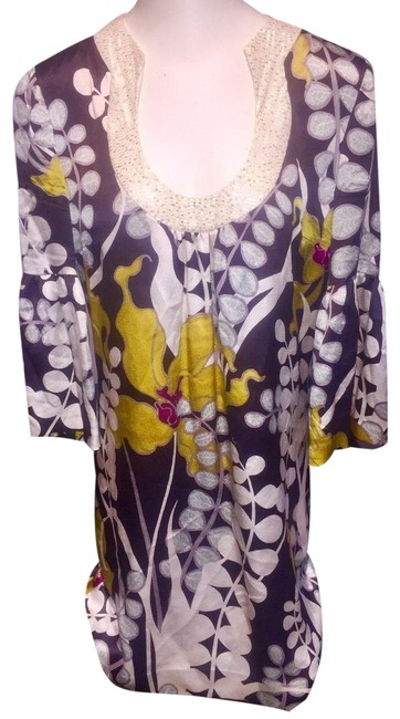 Item - Multi Color Silk Mid-length Work/Office Dress Size 4 (S)
