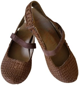 OTBT Leather Durable Comfortable Mary Jane Brown Wedges