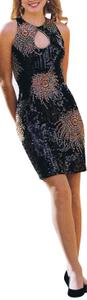 Just Female Party Criuse Sequin Keyhole Short Sleeves Dress