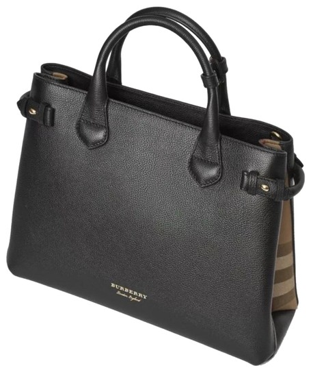 a2b9f3092907 Burberry Medium Banner In and House Check Black Calfskin Leather ...