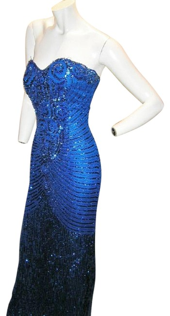 Item - Royal/Blue Silk Strapless Heart Shape Egyptian Bustier Long Formal Dress Size 8 (M)
