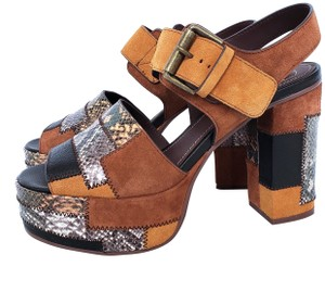 2861e6810cee See by Chloé Patchwork Suede Sandals Heels Brown Platforms