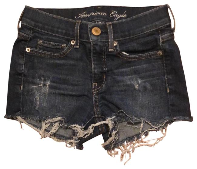 Item - Indigo Distressed Frayed Hem Shorts Size 00 (XXS, 24)