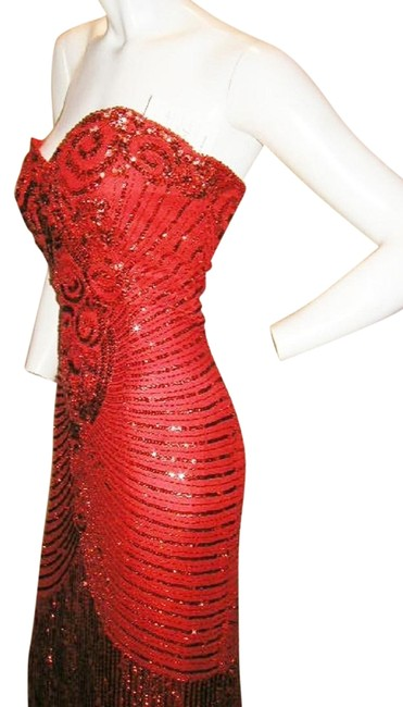 Item - Red Silk Strapless Heart Shape Egyptian Bustier Long Formal Dress Size 10 (M)