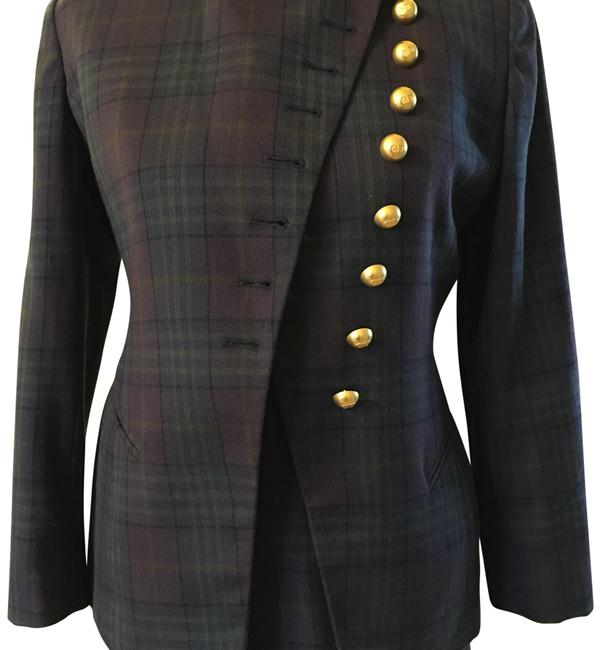 Item - Purple Navy and Green Vintage Plaid Skirt Suit Size 4 (S)