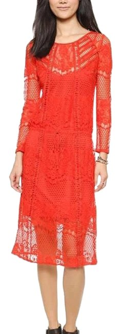 Item - Red Luna Pimento Lace Mid-length Night Out Dress Size 2 (XS)
