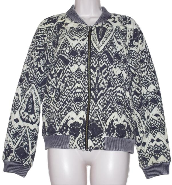 Item - Gray Print Cotton Rayon Ivory Women's Quilted Bomber Jacket Size 6 (S)